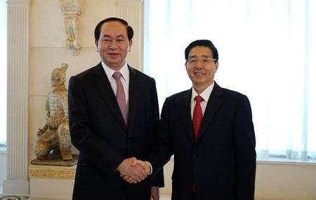 Bo truong Tran Dai Quang hoi kien dong chi Manh Kien Tru va hoi dam voi Bo truong Quach Thanh Con - Anh 2