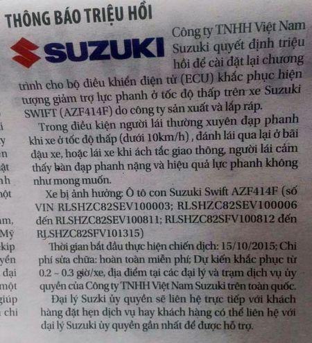 "So tai nan ""lien hoan"", Suzuki Viet Nam khan cap trieu hoi Swift - Anh 2"