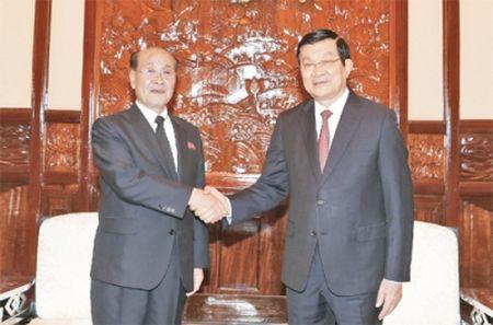 Chu tich nuoc Truong Tan Sang tiep doan Vien Kiem sat Toi cao Trieu Tien - Anh 1