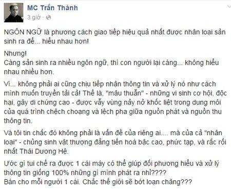 MC Tran Thanh 'cau gat' voi Hari Won vi... khong hieu chuyen? - Anh 1