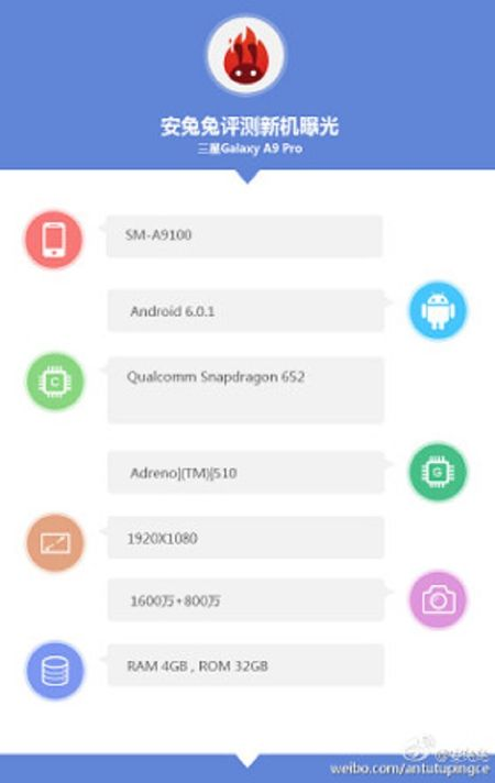 Lo thong so Galaxy A9 Pro: Snapdragon 652, RAM 4 GB - Anh 1
