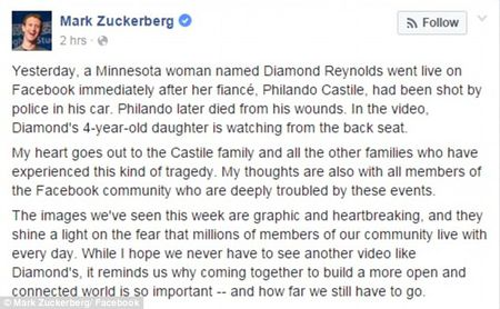 "CEO Facebook Zuckerberg ""soc"" truoc video nguoi da mau bi canh sat ban - Anh 2"