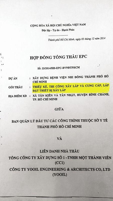 """Viet tiep loat bai """"Benh vien Nhi dong TP.HCM va noi lo tri tre du an nghin ty"""": Chan dong truoc dau hieu """"co y lam trai"""" trong hop dong Tong thau EPC - Anh 2"""
