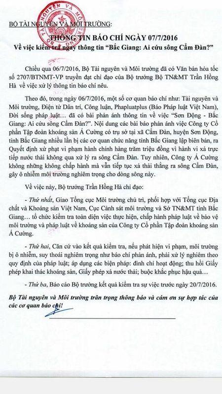 Bo truong Tran Hong Ha chi dao xu ly nghiem vu Cong ty A Cuong 'buc tu' song Cam Dan - Anh 1