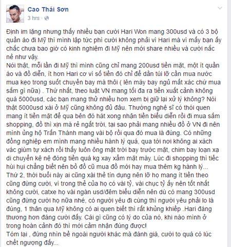 Cao Thai Son benh Hari Won khi bi nem da vi khong co tien - Anh 2