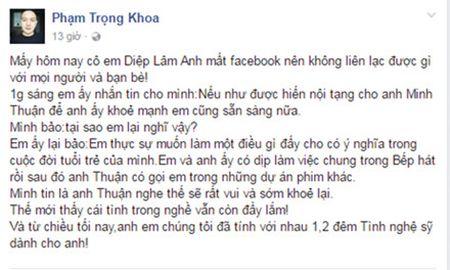 Diep Lam Anh san sang hien noi tang de cuu Minh Thuan - Anh 2
