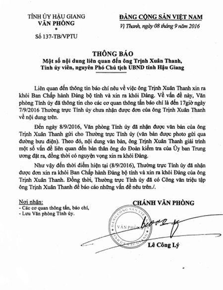 Tinh uy Hau Giang da nhan duoc don xin ra khoi dang cua ong Trinh Xuan Thanh - Anh 1