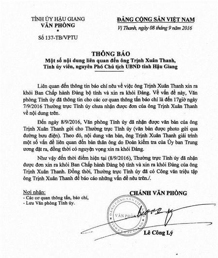 Ong Trinh Xuan Thanh gui don xin ra khoi Dang - Anh 1