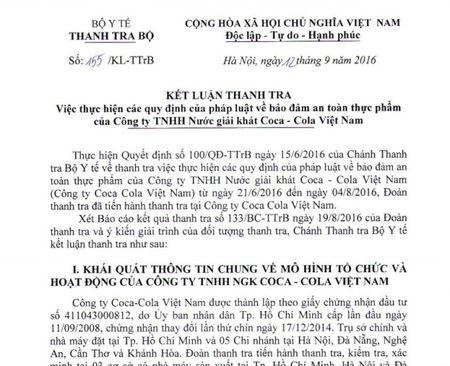 Sau Thanh tra ATTP: Bo Y te xu phat Coca-Cola Viet Nam gan 434 trieu dong - Anh 1