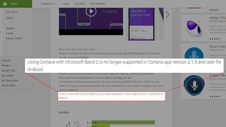 Microsoft Band 2 khong con duoc ho tro boi Cortana tren Android - Anh 2