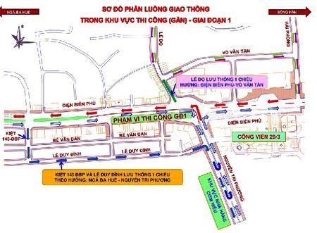 Da Nang: Phan luong giao thong phuc vu thi cong ham chui nut giao thong Dien Bien Phu - Nguyen Tri Phuong - Anh 2