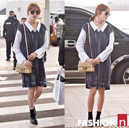 Red Velvet sang chanh, Lee Sung Kyung chon style hien dai o san bay - Anh 9