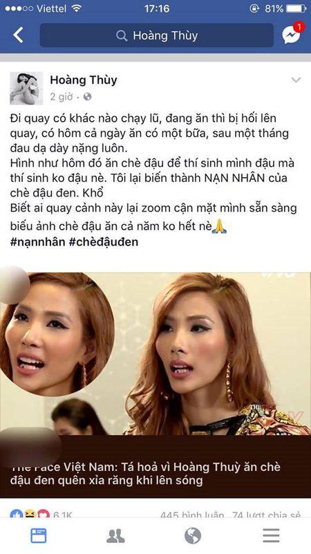 Hoang Thuy len tieng ve su co quen xia rang sau khi an che do den - Anh 3