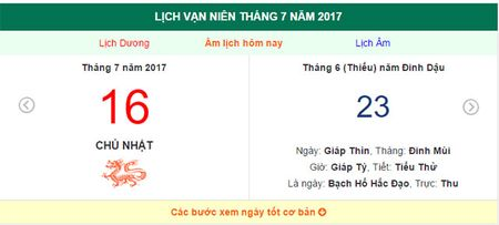 Am lich hom nay (23.6, tuc 16.7 duong lich): Hom nay gio nao dep? - Anh 1