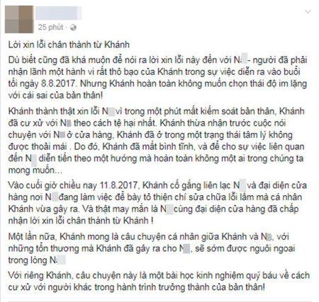 Khanh Casa xin loi, tang qua sau khi tat nu nhan vien mang thai - Anh 2