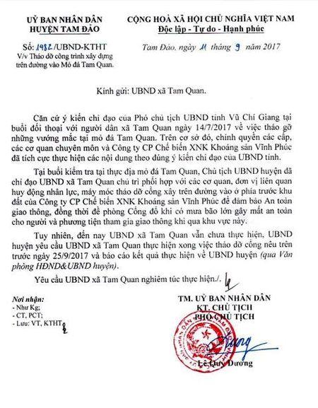 Vinh Phuc: Huyen Tam Dao yeu cau thao do cong vao mo da Tam Quan - Anh 1