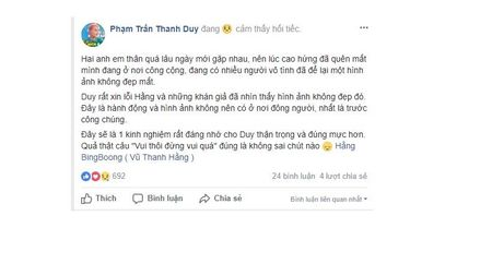 Thanh Duy xin loi ve hanh dong vo duyen voi Hang Bing Boong luc cao hung - Anh 4