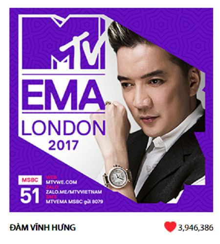 Dam Vinh Hung dai dien Viet Nam tranh tai o MTV EMA 2017 - Anh 2
