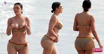 Bị chụp trộm ảnh bikini, Kim Kardashian lộ vòng 3 sần sùi, cứng đơ khiến fan phát hoảng