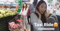Jessica mặc giản dị, đi dép lê thoải mái mua sắm trong siêu thị tại TPHCM