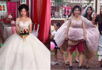 Cô dâu 'chất' nhất mùa mưa bão: Mặc quần đùi trong váy cưới, đi giày thể thao để lội bùn