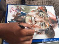 Sinh viên trường CĐ Văn hóa nghệ thuật vẽ chân dung tặng thương, bệnh binh