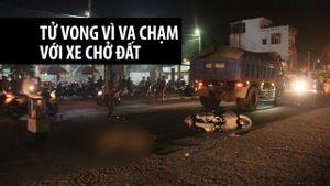 Va chạm với xe tải chở đất, một phụ nữ tử vong