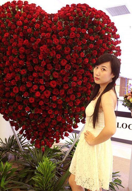 Trai tim hoa hong cao 2,5 met mung le tinh nhan o Sai Gon - Anh 2