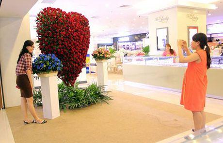 Trai tim hoa hong cao 2,5 met mung le tinh nhan o Sai Gon - Anh 3