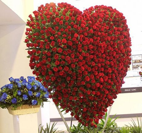 Trai tim hoa hong cao 2,5 met mung le tinh nhan o Sai Gon - Anh 4