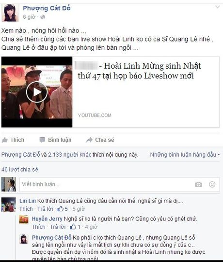 Cat Phuong: 'Quang Le qua mat lich su khi tu y ngoi ban chu toa' - Anh 3
