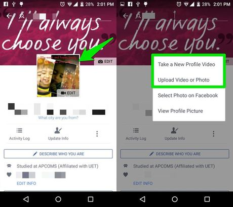 Huong dan cach dat anh dai dien Facebook bang video - Anh 1
