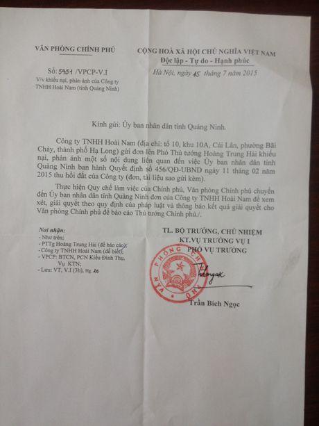 Vu thu hoi dat cua Cong ty Sao Bac va Hoai Nam: Tinh Quang Ninh bao cao len Chinh phu nhu the nao? - Anh 1