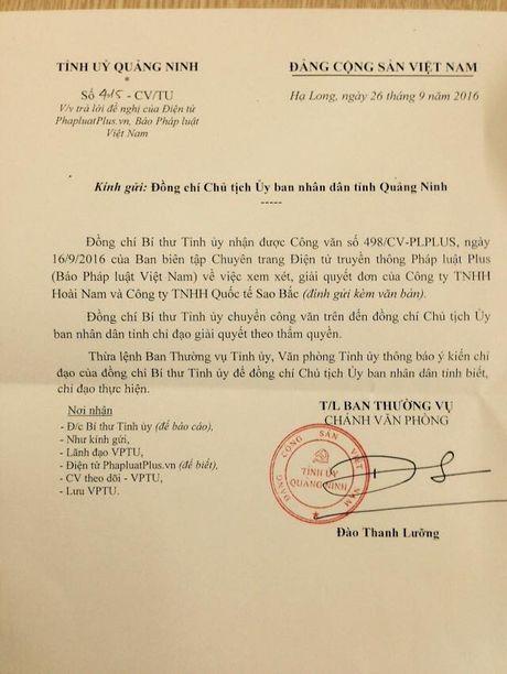 Vu thu hoi dat cua Cong ty Sao Bac va Hoai Nam: Tinh Quang Ninh bao cao len Chinh phu nhu the nao? - Anh 3