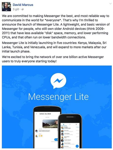 Facebook tung ra Messenger Lite ho tro cac may doi cu - Anh 2