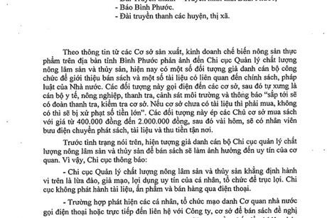 Binh Phuoc: Canh bao hanh vi gia danh can bo de lua dao - Anh 1