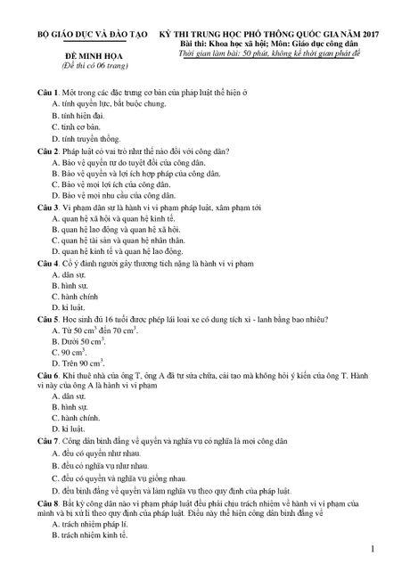 De thi THPT quoc gia minh hoa 4 mon: Sinh, Su, Dia, GDCD - Anh 17