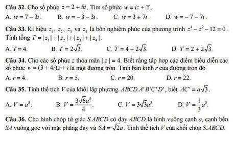 Bo GD&DT cong bo de thi minh hoa mon Toan nam 2017 - Anh 6