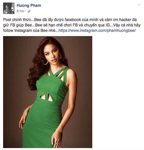Hoa hau Pham Huong bi nghi ngo co tinh gia mat Facebook? - Anh 1