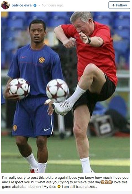 Patrice Evra lai treu Sir Alex Ferguson bang anh doc - Anh 1