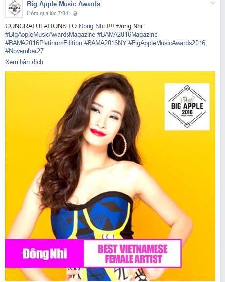 Dong Nhi, Son Tung MTP doat giai thuong quoc te BAMA 2016 - Anh 1