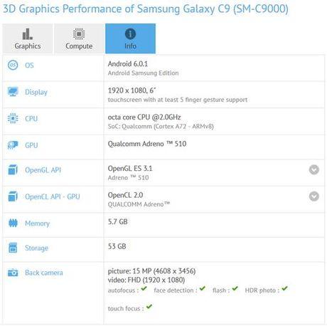 Smartphone Samsung Galaxy C9 lo cau hinh an tuong - Anh 2