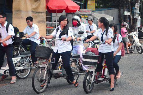 TP.HCM: Hoc sinh di xe dap dien phot lo mu bao hiem - Anh 1