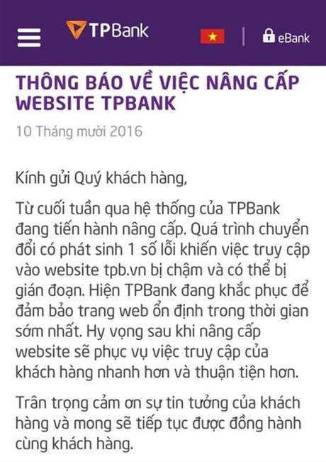 Khong co chuyen website cua Ngan hang TPBank bi hack - Anh 1