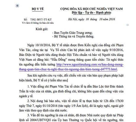 Bo Y te gui cong van ve clip Vu truong bi to hau dong - Anh 2