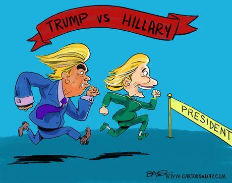 Man doi dau giua Trump va Clinton qua tranh biem hoa - Anh 11