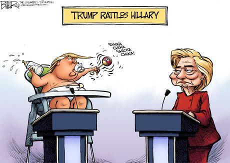 Man doi dau giua Trump va Clinton qua tranh biem hoa - Anh 2