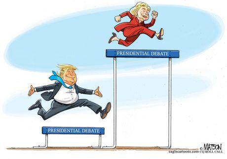 Man doi dau giua Trump va Clinton qua tranh biem hoa - Anh 4
