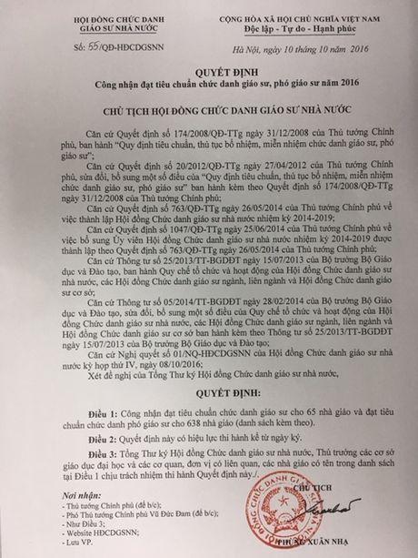 Nganh y, duoc co 134 Giao su, Pho Giao su duoc cong nhan nam 2016 - Anh 1