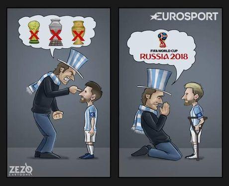 Biem hoa Argentina quy xuong xin Messi tro giup - Anh 1